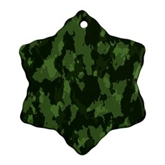 Camouflage Green Army Texture Snowflake Ornament (two Sides)