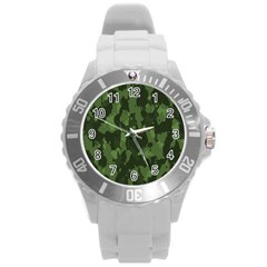 Camouflage Green Army Texture Round Plastic Sport Watch (L)