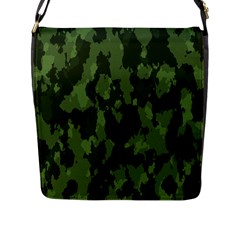 Camouflage Green Army Texture Flap Messenger Bag (l)