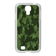 Camouflage Green Army Texture Samsung GALAXY S4 I9500/ I9505 Case (White)