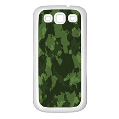 Camouflage Green Army Texture Samsung Galaxy S3 Back Case (White)