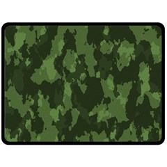 Camouflage Green Army Texture Double Sided Fleece Blanket (Large)