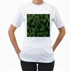 Camouflage Green Army Texture Women s T Shirt (white)