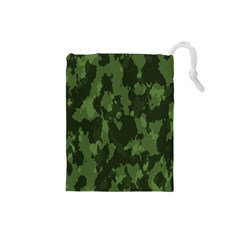 Camouflage Green Army Texture Drawstring Pouches (Small)