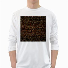 Pixel Pattern Colorful And Glowing Pixelated White Long Sleeve T Shirts