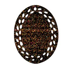 Pixel Pattern Colorful And Glowing Pixelated Ornament (Oval Filigree)