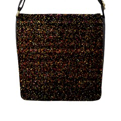 Pixel Pattern Colorful And Glowing Pixelated Flap Messenger Bag (l)