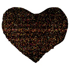Pixel Pattern Colorful And Glowing Pixelated Large 19  Premium Flano Heart Shape Cushions