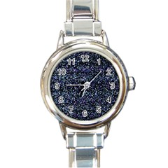 Pixel Colorful And Glowing Pixelated Pattern Round Italian Charm Watch