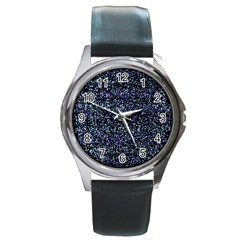 Pixel Colorful And Glowing Pixelated Pattern Round Metal Watch