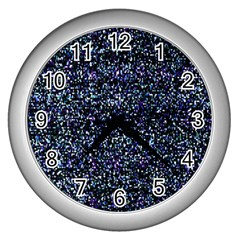 Pixel Colorful And Glowing Pixelated Pattern Wall Clocks (silver)