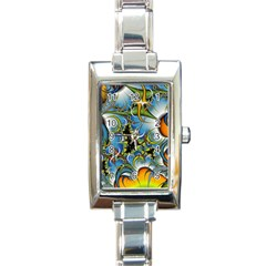 Fractal Background With Abstract Streak Shape Rectangle Italian Charm Watch