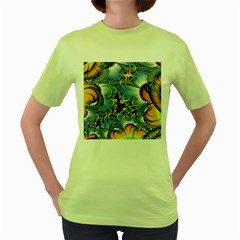 Fractal Background With Abstract Streak Shape Women s Green T-Shirt