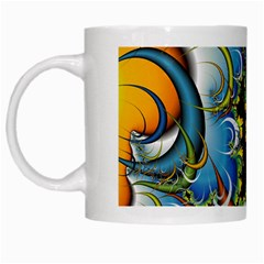 Fractal Background With Abstract Streak Shape White Mugs
