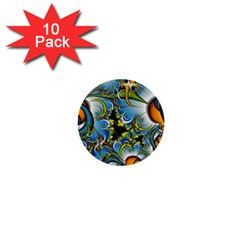 Fractal Background With Abstract Streak Shape 1  Mini Buttons (10 Pack)