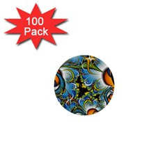 Fractal Background With Abstract Streak Shape 1  Mini Buttons (100 Pack)