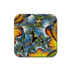 Fractal Background With Abstract Streak Shape Rubber Square Coaster (4 Pack)