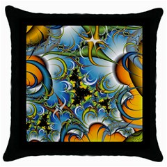 Fractal Background With Abstract Streak Shape Throw Pillow Case (Black)