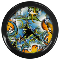 Fractal Background With Abstract Streak Shape Wall Clocks (Black)