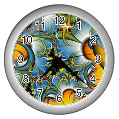 Fractal Background With Abstract Streak Shape Wall Clocks (silver)