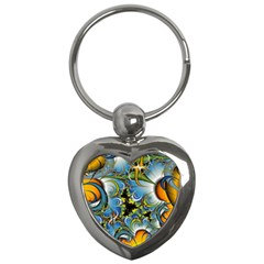 Fractal Background With Abstract Streak Shape Key Chains (Heart)