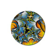 Fractal Background With Abstract Streak Shape Rubber Coaster (Round)