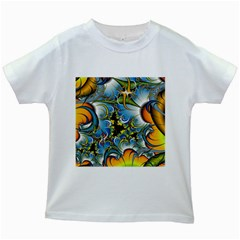 Fractal Background With Abstract Streak Shape Kids White T-Shirts