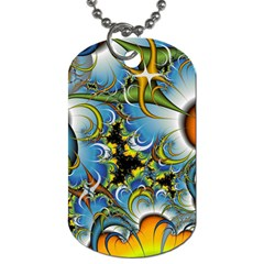 Fractal Background With Abstract Streak Shape Dog Tag (one Side)