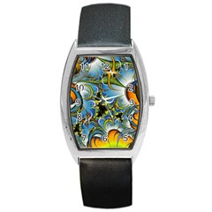 Fractal Background With Abstract Streak Shape Barrel Style Metal Watch