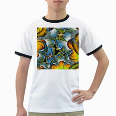 Fractal Background With Abstract Streak Shape Ringer T Shirts