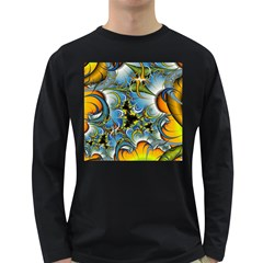 Fractal Background With Abstract Streak Shape Long Sleeve Dark T Shirts