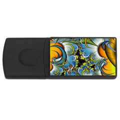 Fractal Background With Abstract Streak Shape USB Flash Drive Rectangular (4 GB)