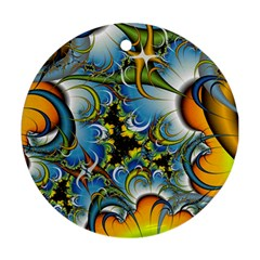 Fractal Background With Abstract Streak Shape Round Ornament (two Sides)