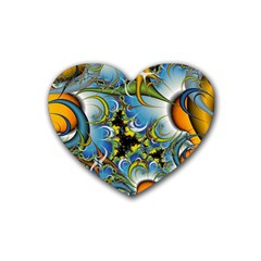 Fractal Background With Abstract Streak Shape Rubber Coaster (heart)