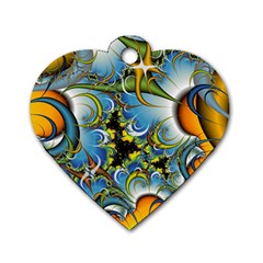 Fractal Background With Abstract Streak Shape Dog Tag Heart (Two Sides)