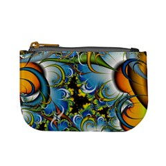 Fractal Background With Abstract Streak Shape Mini Coin Purses