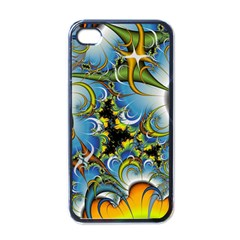 Fractal Background With Abstract Streak Shape Apple iPhone 4 Case (Black)