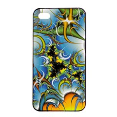 Fractal Background With Abstract Streak Shape Apple iPhone 4/4s Seamless Case (Black)