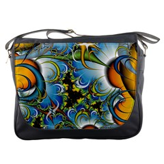 Fractal Background With Abstract Streak Shape Messenger Bags
