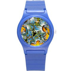 Fractal Background With Abstract Streak Shape Round Plastic Sport Watch (S)
