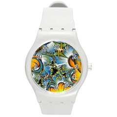 Fractal Background With Abstract Streak Shape Round Plastic Sport Watch (M)
