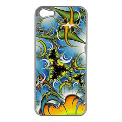 Fractal Background With Abstract Streak Shape Apple iPhone 5 Case (Silver)