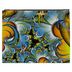 Fractal Background With Abstract Streak Shape Cosmetic Bag (XXXL)