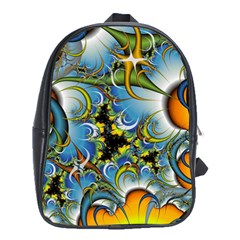 Fractal Background With Abstract Streak Shape School Bags (XL)