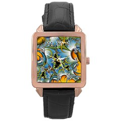 Fractal Background With Abstract Streak Shape Rose Gold Leather Watch