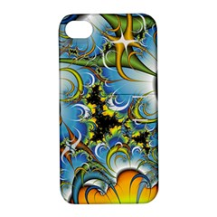 Fractal Background With Abstract Streak Shape Apple Iphone 4/4s Hardshell Case With Stand