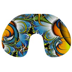 Fractal Background With Abstract Streak Shape Travel Neck Pillows