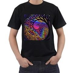 3d Fractal Mandelbulb Men s T-Shirt (Black) (Two Sided)