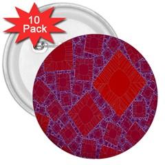 Voronoi Diagram 3  Buttons (10 pack)