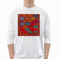 Abstract Art Pattern White Long Sleeve T-Shirts